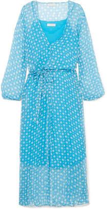 Cloe Cassandro - Jemima Printed Silk-crepon Wrap Midi Dress - Azure