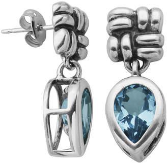 FINE JEWELRY Genuine Sky Blue Topaz Oxidized Sterling Silver Drop Earrings