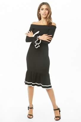 Forever 21 Striped-Trim Flounce Dress