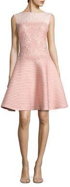 Tadashi Shoji Mixed-Media Flared Dress $368 thestylecure.com