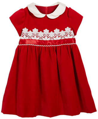 Florence Eiseman Velvet Lace-Trim Dress, Size 2-6X