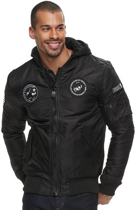 X-Ray Xray Men's XRAY Large Zipper Flight Jacket with Removable Hoodie