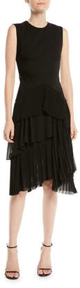 Jason Wu Sleeveless Wool-Suiting Fit-and-Flare Cocktail Dress