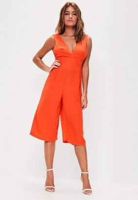 Missguided Orange Plunge Front Culotte Romper