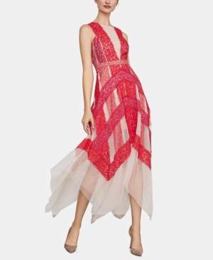 BCBGMAXAZRIA Lace & Tulle Illusion Midi Dress