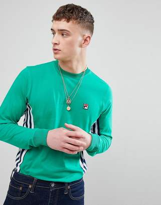 Fila Vintage Long Sleeve T-Shirt With Stripe Panel In Green
