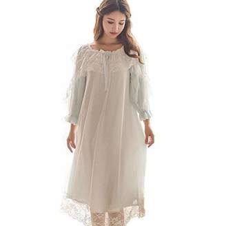 13b3876dcb SINGINGQUEEN Women s Victorian Nightgown Vintage Sleepwear Lace Robe Chemise  Lounge Dress Pajamas