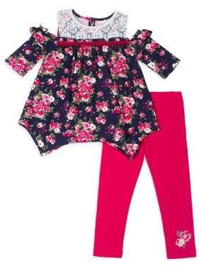 Little Lass Little Girl's Floral Lace Top and Legging Set