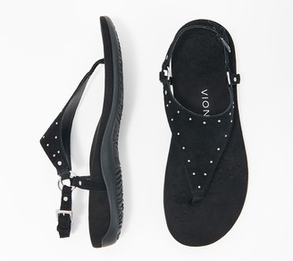 Vionic Suede Studded T-Strap Sandal - Margot Studs