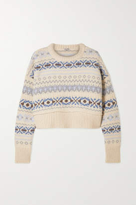 Miu Miu Cropped Fair Isle Wool Sweater - Cream
