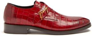 Balenciaga Crocodile Effect Leather Derby Shoes - Mens - Red