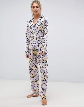 Asos DESIGN lilac floral traditional pyjama set in 100% modal