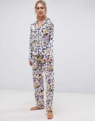 Asos DESIGN lilac floral traditional pyjama set in 100% modal