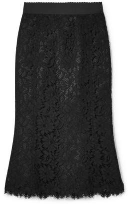 Dolce & Gabbana Cotton-blend Corded Lace Midi Skirt - Black