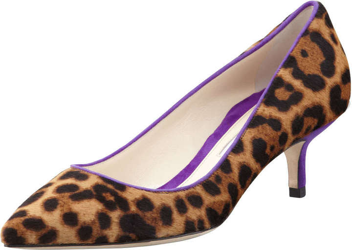 Brian Atwood Low-Heel Leopard-Print Calf Hair Pump, Gold/Violet