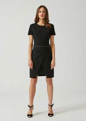 Emporio Armani Wrap-Around Stretch Cady Dress With Stud Detail