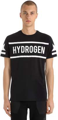 Hydrogen Icon Logo Printed Cotton Jersey T-Shirt