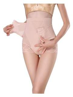 Prime Shaper Women's High Waist Tummy Control Panty with Adjustable Corset - Nude, Large