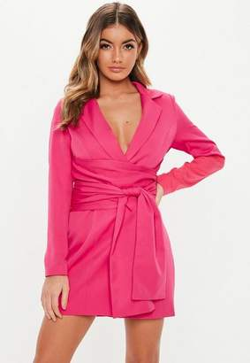 Missguided Hot Pink Extreme Wrap Belted Blazer Dress, Hot Pink
