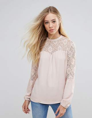 B.young Lace Insert Blouse