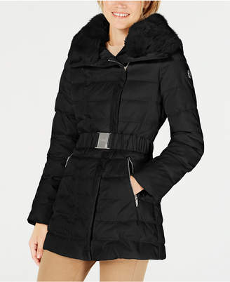 Laundry by Shelli Segal Faux-Fur-Collar Asymmetrical Puffer Coat
