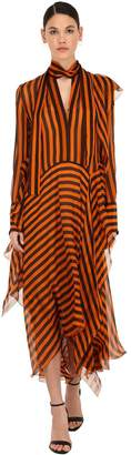 Petar Petrov Asymmetric Striped Silk Chiffon Dress