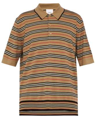 Burberry Heritage Striped Wool Polo Shirt - Mens - Camel