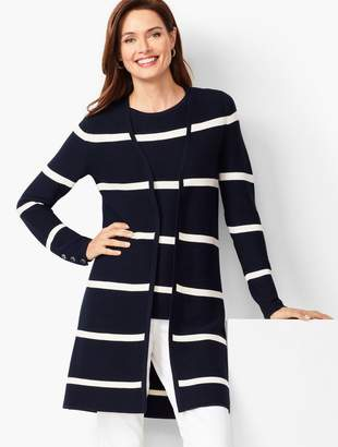 Talbots Open-Front Modern Ottoman Cardigan - Stripe