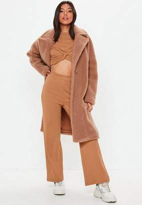 Missguided Camel Wide Leg Ribbed Trousers