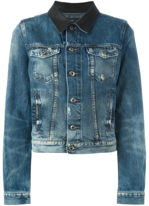 Diesel contrasting collar denim jacket $314.27 thestylecure.com