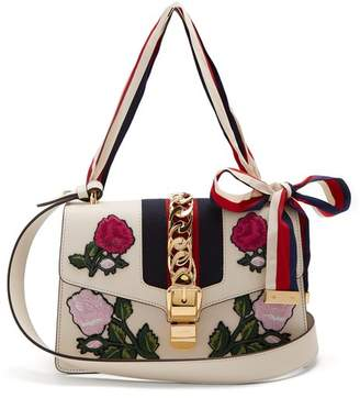Gucci Sylvie Floral Embroidered Leather Shoulder Bag - Womens - White Multi