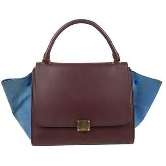 Celine Trapeze Burgundy Leather Handbags