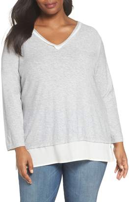 Vince Camuto Woven Hem Layered Top