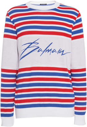 Balmain Logo Striped Intarsia-Knit Sweater
