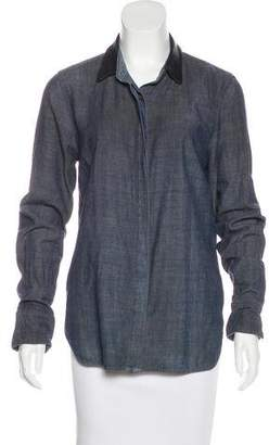 Rag & Bone Leather-Trimmed Chambray Top