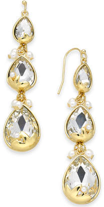 INC International Concepts I.n.c. Gold-Tone Crystal & Imitation Pearl Triple Drop Earrings