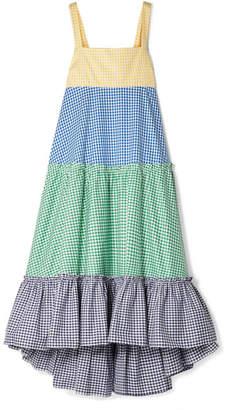 MDS Stripes Tiered Gingham Cotton-poplin Maxi Dress
