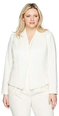 Nine West Women's Size Plus BI Stretch Solid KISS Front Jacket