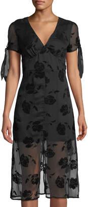 J.o.a. Rose-Burnout Tie-Sleeve Dress