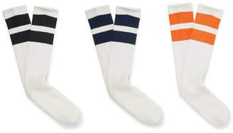 Neighborhood Three-Pack Striped Ribbed Stretch-Cotton Socks