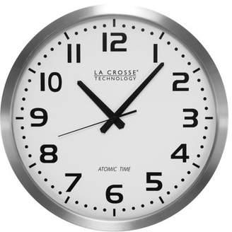 """La Crosse Technology 16"""" Stainless Steel Atomic Clock, White Dial"""