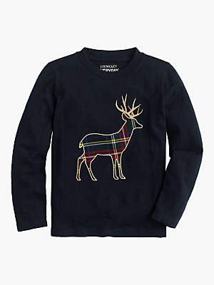 J.Crew crewcuts by Girls' Tartan Deer Applique T-Shirt, Navy