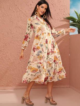 Shein Floral Ruffle Hem Shirt Dress With Cami Dress
