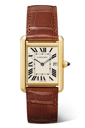 Cartier Tank Louis 25.5mm Large 18-karat Gold And Alligator Watch