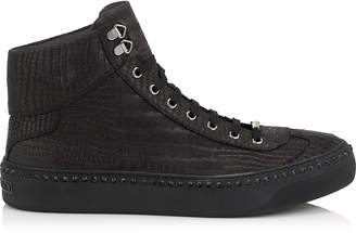 Jimmy Choo ARGYLE Black Croc Printed Nubuck with Steel Crystals High Top Trainers