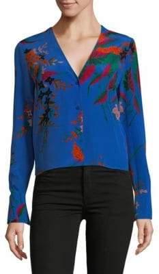Diane von Furstenberg V-Neck Silk Button-Down Shirt