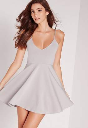 Missguided Strappy Skater Dress Gray