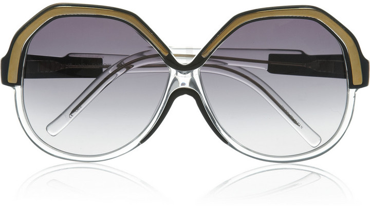 Linda Farrow Geometric round-frame acetate sunglasses