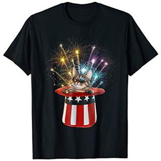 Cat Patriotic Funny Fireworks 4th Of July T-Shirt