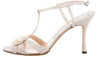 Manolo Blahnik Floral T-Strap Sandals